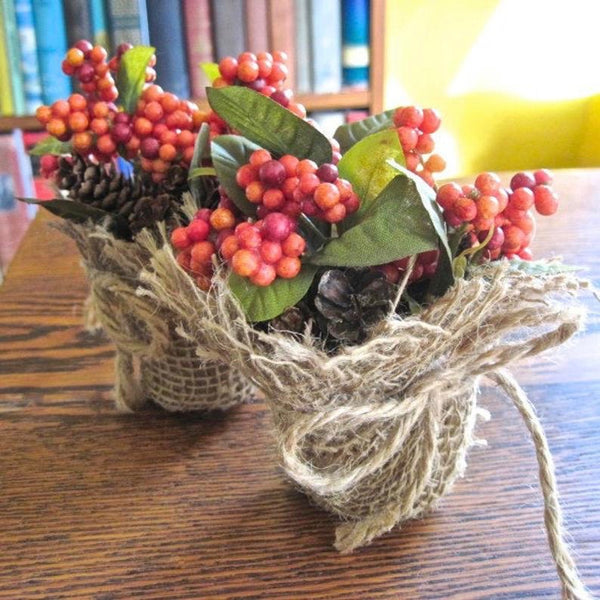 Autumn and Thanksgiving tabletop centerpieces for small tables in natural fall colors. Eco-friendly accent decorations handmade by Rough Magic Creations for Wall and Table Home Decor online shop on Prospero Lane.