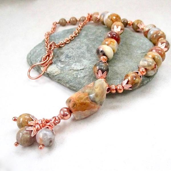 Autumn Colors Boho Pendant Necklace, Lace Agate, Copper Chain
