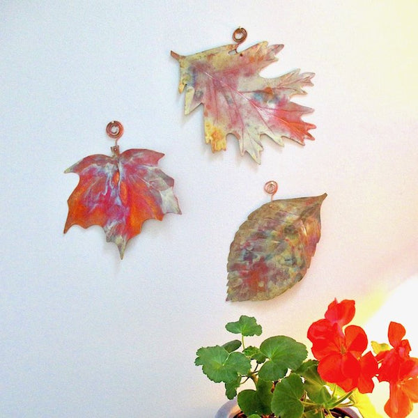 Solid Copper Autumn Leaves Mixed Leaf Wall Hangings Set of 3