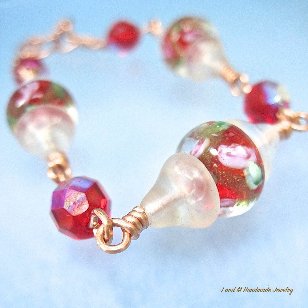 Red & White Bracelet with Floral Lampwork, Glass, Copper, Colorful Handmade Jewelry for Christmas, Holidays