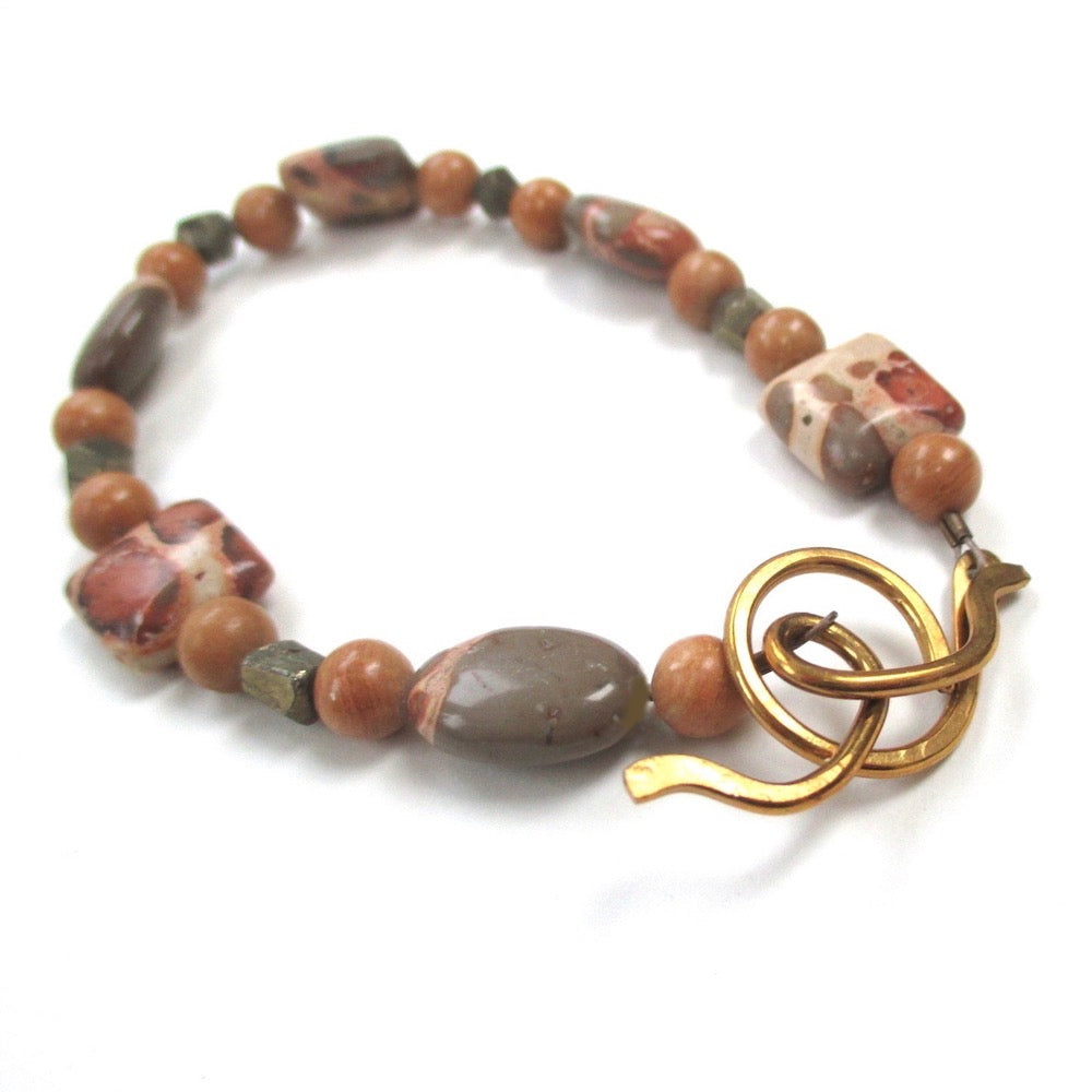 Safari Jasper Bracelet with Pyrite Fools Gold & Antique Brass