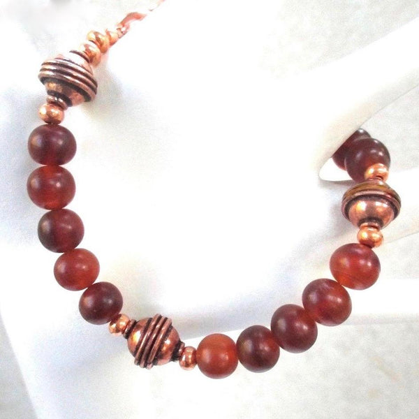 Beaded Bracelet with Baltic Amber Stones & Antique Copper