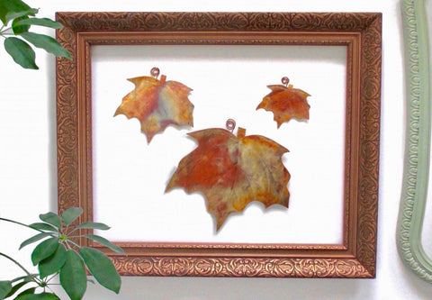 Maple Leaf Wall Hangings, Set of 3 Copper Autumn Leaves, Metal Decor