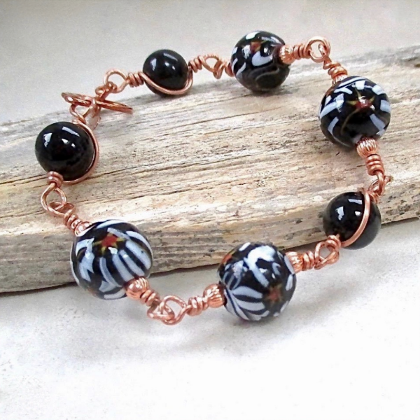 Black & White Link Bracelet with Tombo Beads, Onyx, Copper