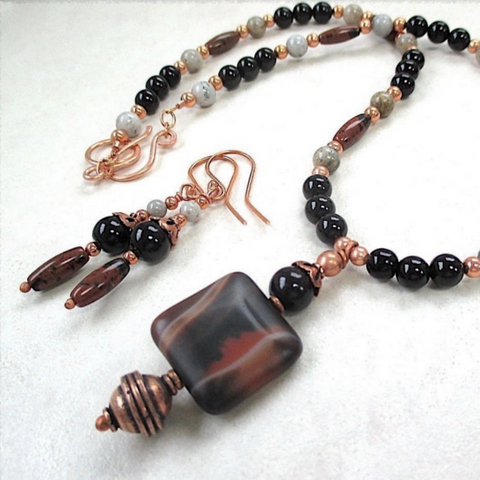 Black and Brown Gemstone Jewelry Set Pendant Necklace, Dangle Earrings