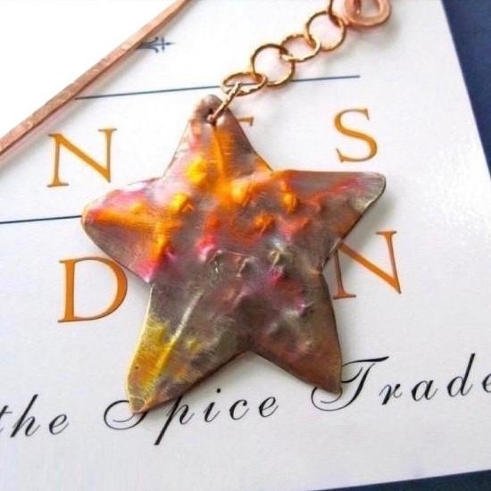 http://RoughMagicCreations.com/copper-starfish-beach-bookmark-colorful-hammered-metalwork