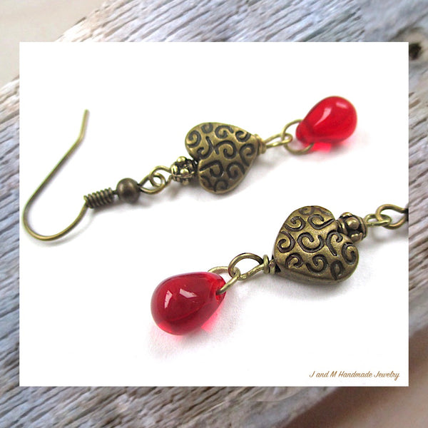 Bleeding Hearts Earrings Antique Brass and Red Teardrop Dangles, Handmade Jewelry by J and M on Prospero Lane for Rough Magic Creations.
