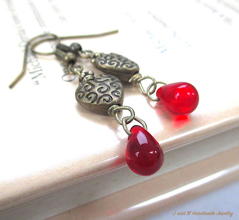 Bleeding Hearts Dangle Earrings, Red Glass Teardrop Beads, Antiqued Brass Drops