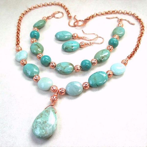 Blue Green Turquoise Jewelry Set Gemstone Necklace, Bracelet, Earrings