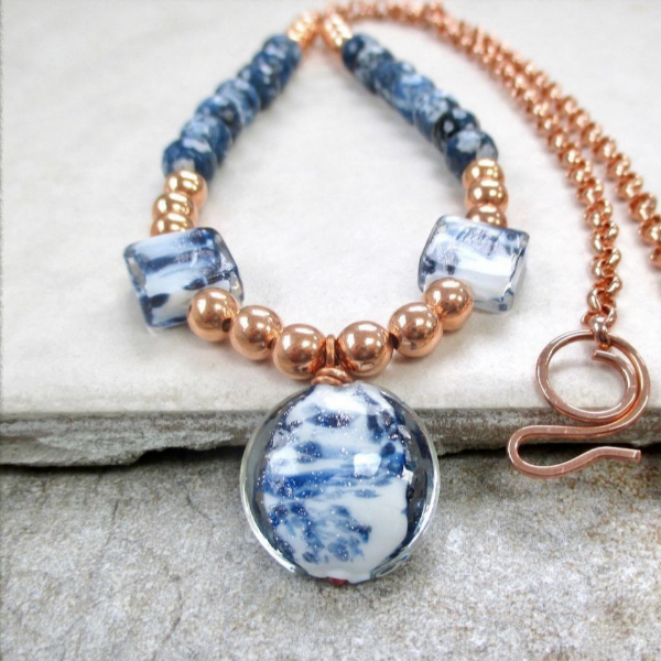 Blue & White Pendant Necklace with Lampwork, Glass and Copper