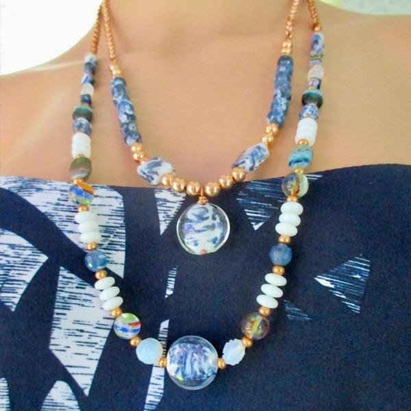 Blue White Multicolor Lampwork Glass and Copper Chain Necklaces, Adjustable Lengths for On Trend Layered Look