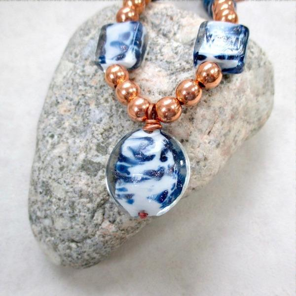 Blue and White Pendant Necklace with Lampwork, Glass and Copper Adjustable Length Chain.