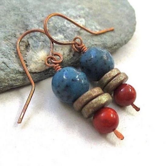 Boho Southwestern Earrings with Red Blue Bronze & Copper