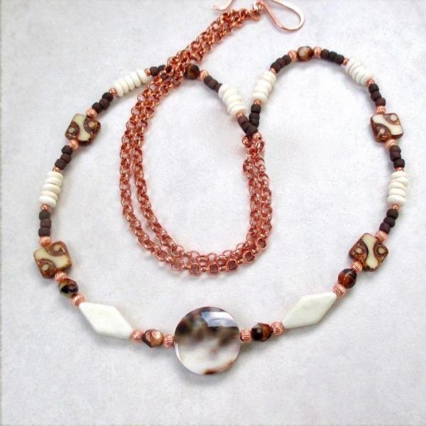 Boho Beachcomber Long Necklace: Tiger Cowrie Shell, Bone, Czech Glass, adjustable length, rolo chain, hand forged copper