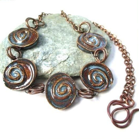 Boho Necklace with Handmade Ceramics and Antique Copper Chain