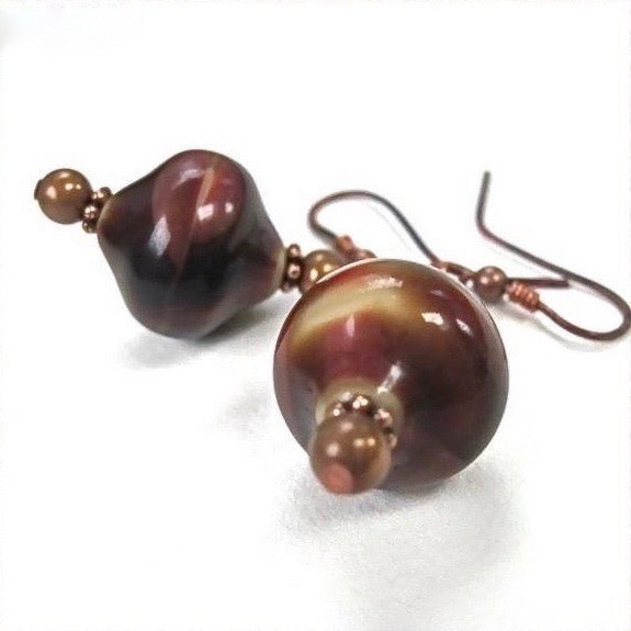 Brown Drop Earrings with Vintage Ceramic Beads and Copper