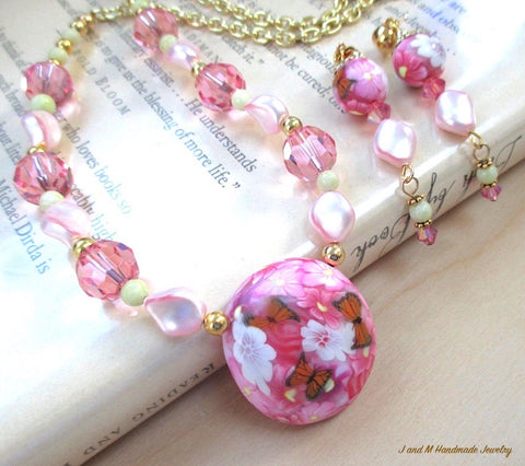 Butterflies and Flowers Pink Jewelry Set, Pendant Necklace, Long Dangle Earrings