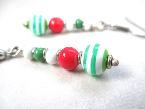 Candy Stripe Holiday Earrings