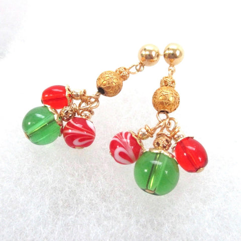 Christmas jewelry for women with clusters of red and green glass and gold accents, these chandelier post earrings will make a woman's holiday merry and bright - winter and yuletide seasons for years to come. Handmade in America, Maine, USA.