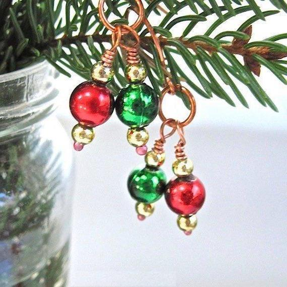 Christmas Ornament Earrings, Red Green Gold Holiday Jewelry for Women