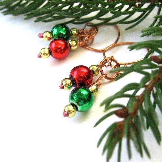 Recycled Christmas Ornament Earrings, Festive Red Green Gold Copper Holiday Jewelry for Women by Rough Magic Holidays.