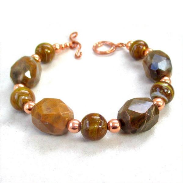 Chunky Brown Agate Bracelet Earth Stone Jewelry, Large gemstones, Boho, Earthy Rugged Masculine Unisex Style, Southwestern Colors brown caramel honey butterscotch olive green, copper toggle clasp, Mens Jewelry handmade by Rough Magic Creations.