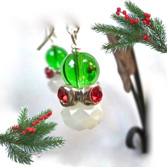 Chunky Christmas Earrings with Green White and Red Dangles, designed and handcrafted in Maine, USA, by Rough Magic Holidays for J and M Handmade Jewelry. Silver, Czech glass, rhinestones, bold sassy festive earrings made in America.
