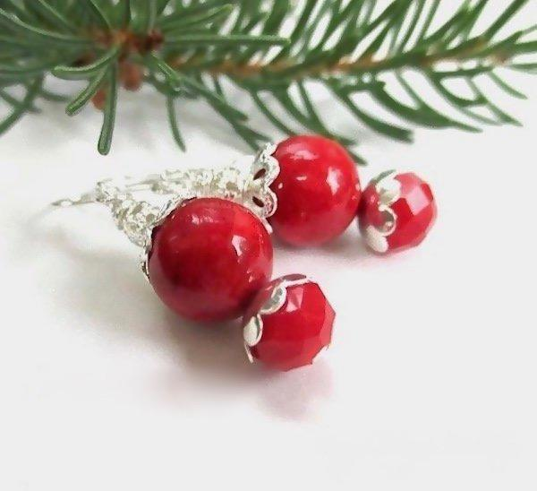 Chunky Bright Red Holiday Earrings Silver with Accents, Christmas, Valentine's Day gifts for women, cherry berry red, lipstick red, bright silver dangle earrings for her.
