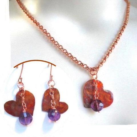 Colorful Copper Hearts Jewelry Set, Purple Amethyst Gemstones, Pendant on Chain Necklace, Matching Earrings, Handcrafted by Rough Magic Creations.