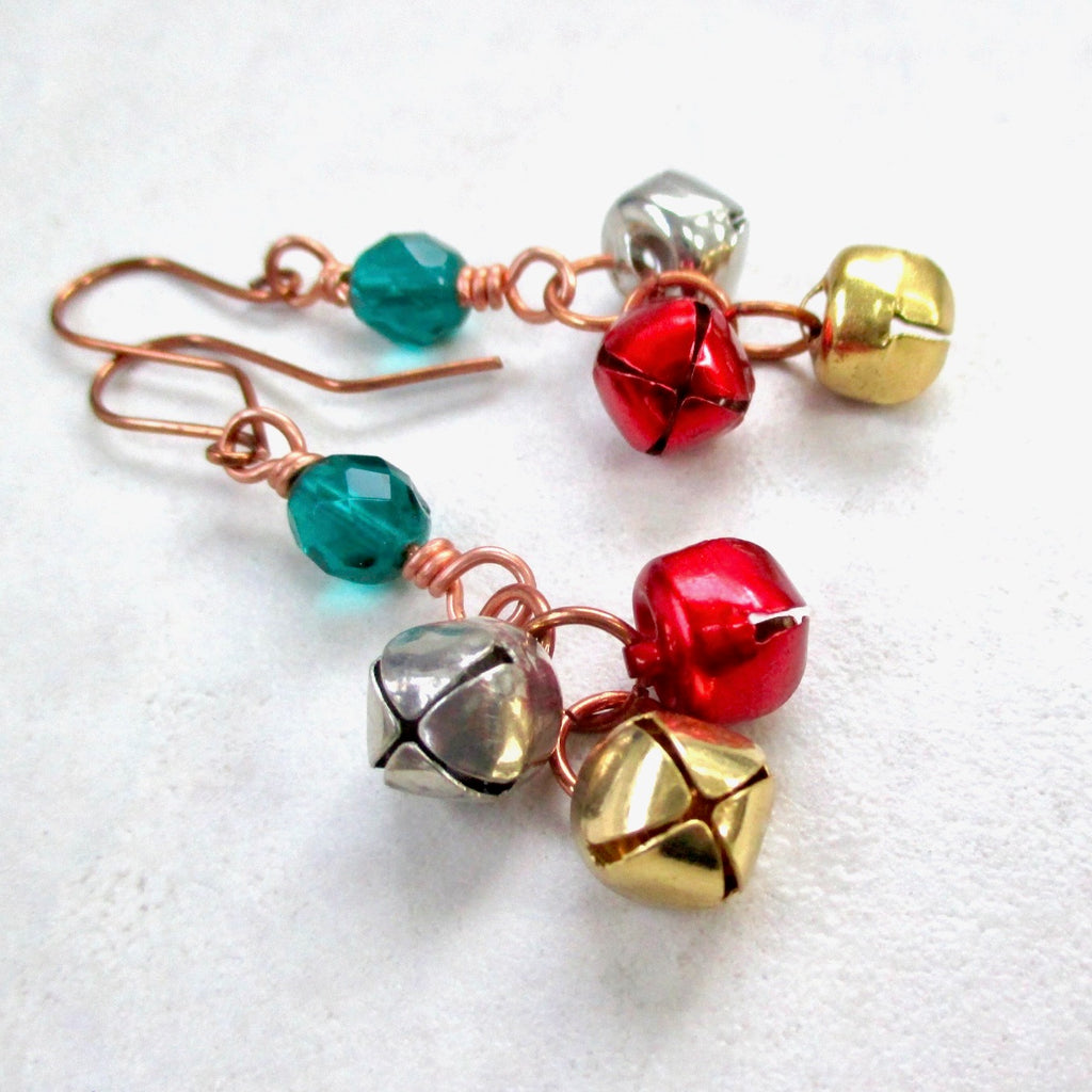 Colorful Sleigh Bells Earrings, colorful handmade holiday jewelry with recycled, repurposed ornaments - Silver Gold Red Small Jingle Bells and Green Glass Beads. Sustainable and eco-friendly Xmas gifts for her, funky fun novelty fashion for women and teenage girls, stocking stuffers, made in America by Rough Magic Creations for J and M Handmade Jewelry, handcrafted in Down East Maine, USA.