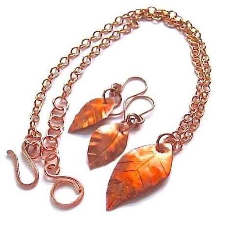 Copper Autumn Leaves Chain Necklace & Earrings Jewelry Set