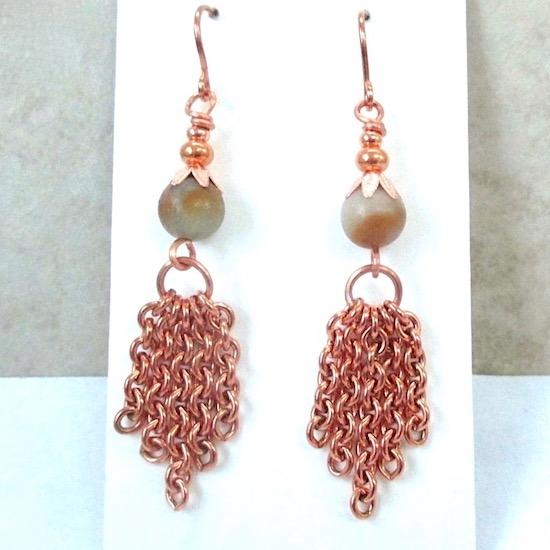 Copper Chain Dangle Earrings with Earthy Gemstones