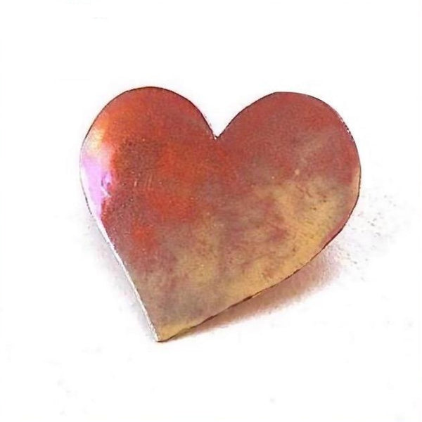 Copper Heart Brooch, Rustic Hammered Metal Pin Handmade Jewelry Forged by Rough Magic Creations