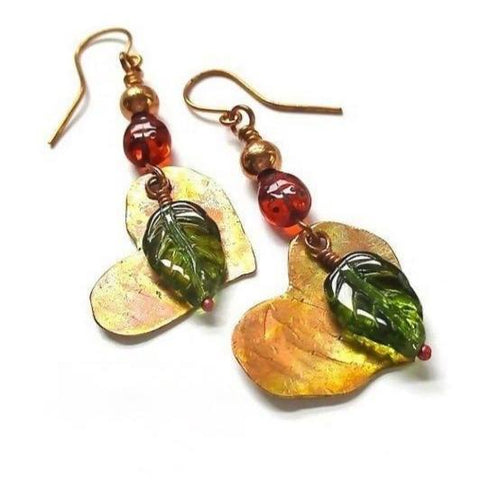 Copper Hearts Earrings, Long Dangles with Green Leaves and Red Ladybugs