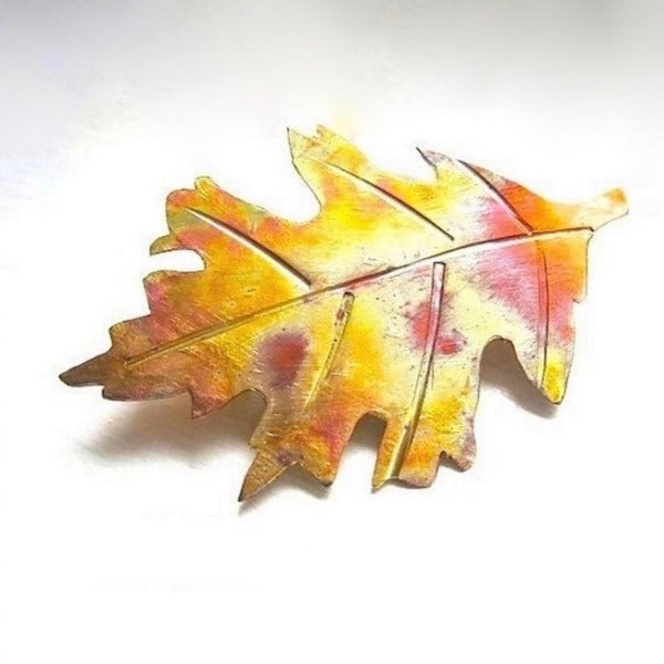 Autumn Leaf Copper Brooch Colorful Fall Fashion Jewelry, Rustic Oak Leaf Handcrafted Pin Hand Forged by Rough Magic Creations. Made in America, Maine, USA.