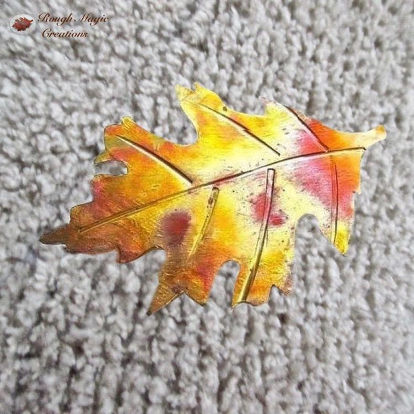 Copper Oak Leaf Brooch, Rustic Hand Forged Metal Pin