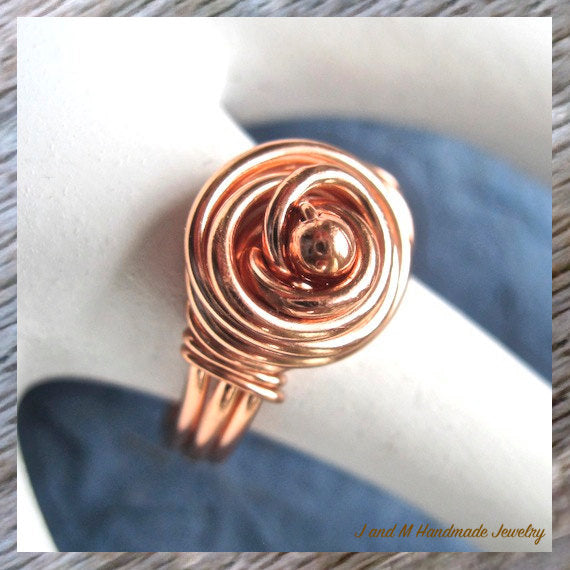 Copper Wire Wrapped Dome Ring, Rosebud Metal Jewelry