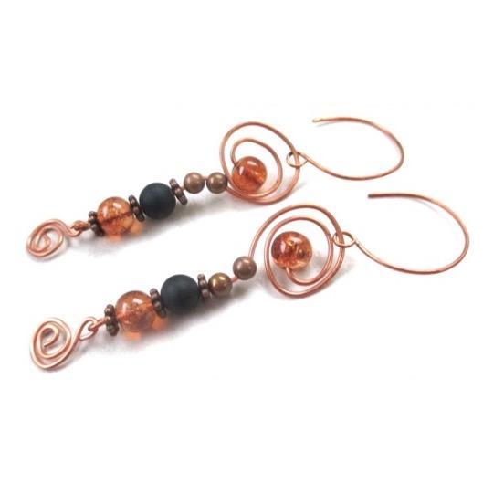 Cosmic Earrings, Extra Long Beaded Black & Amber Dangles with Copper Swirls