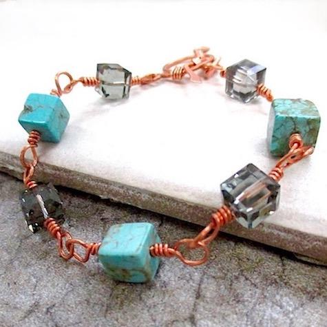 "alt=""cubist bracelet with stones crystals can copper"""