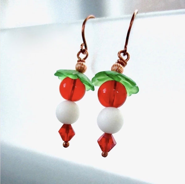 Cute Christmas Earrings, White Snowballs, Red and Green Beads, Copper