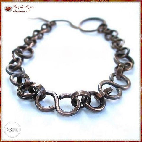 Dark Antique Copper Chain Bracelet