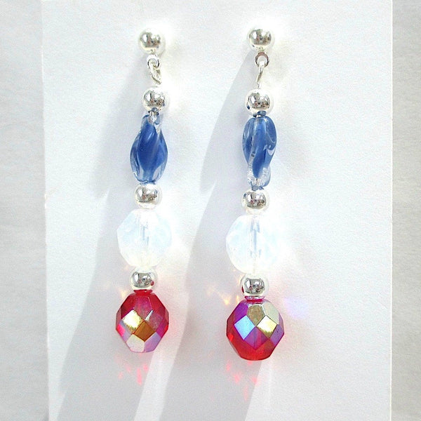 American Patriotic Earrings July 4th Red White & Blue Jewelry