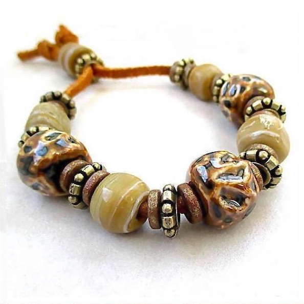 Earth Tone Chunky Ceramic & Brass Beaded Leather Bracelet