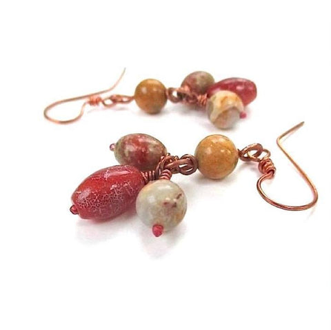 Earthy Boho Earrings, Gemstone Clusters, Autumn Jasper, Agate Stones
