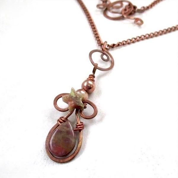 Earthy Stone Pendant with Antique Copper Chain Necklace
