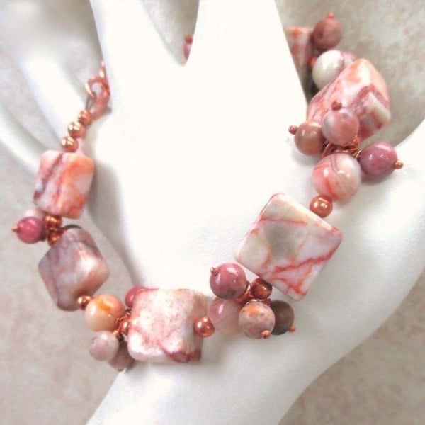 Eclectic Stone Bracelet with Peach Cream and Gray Gemstones