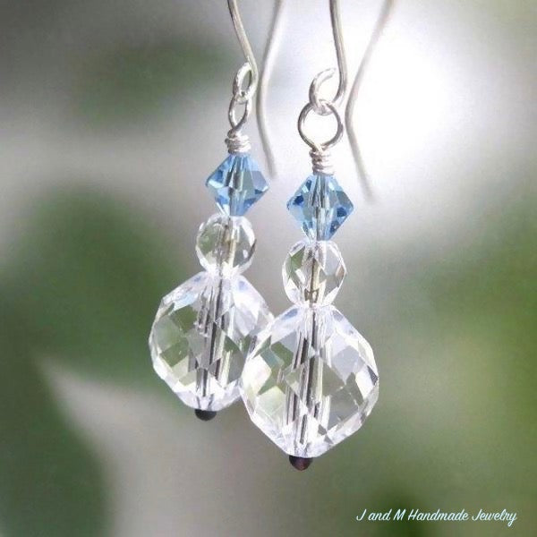 Elegant Earrings, Ice Blue and Clear Crystals, Sterling Silver Earwires