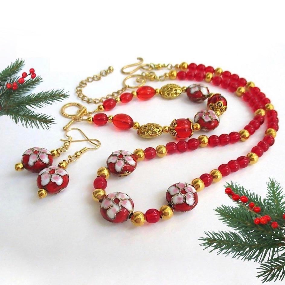 Holiday Jewelry, Cloisonné Set Red and Gold Necklace, Bracelet, Earrings