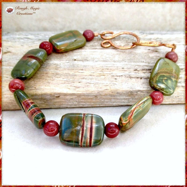 Forest Green and Brick Red Australian Rainbow Jasper and Mookaite Gemstone Bracelet with handmade copper clasp by Rough Magic Creations.