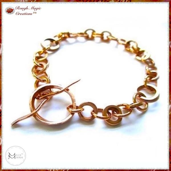 Hand Forged Copper Chain Bracelet by Mollie Meserve Designs for Rough Magic Creations Handmade Jewelry for Women and Men